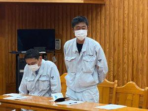 北川で工事施工する安全対策協議会会長八作建設小島様です。協議会よりボランティア協力していただきました。